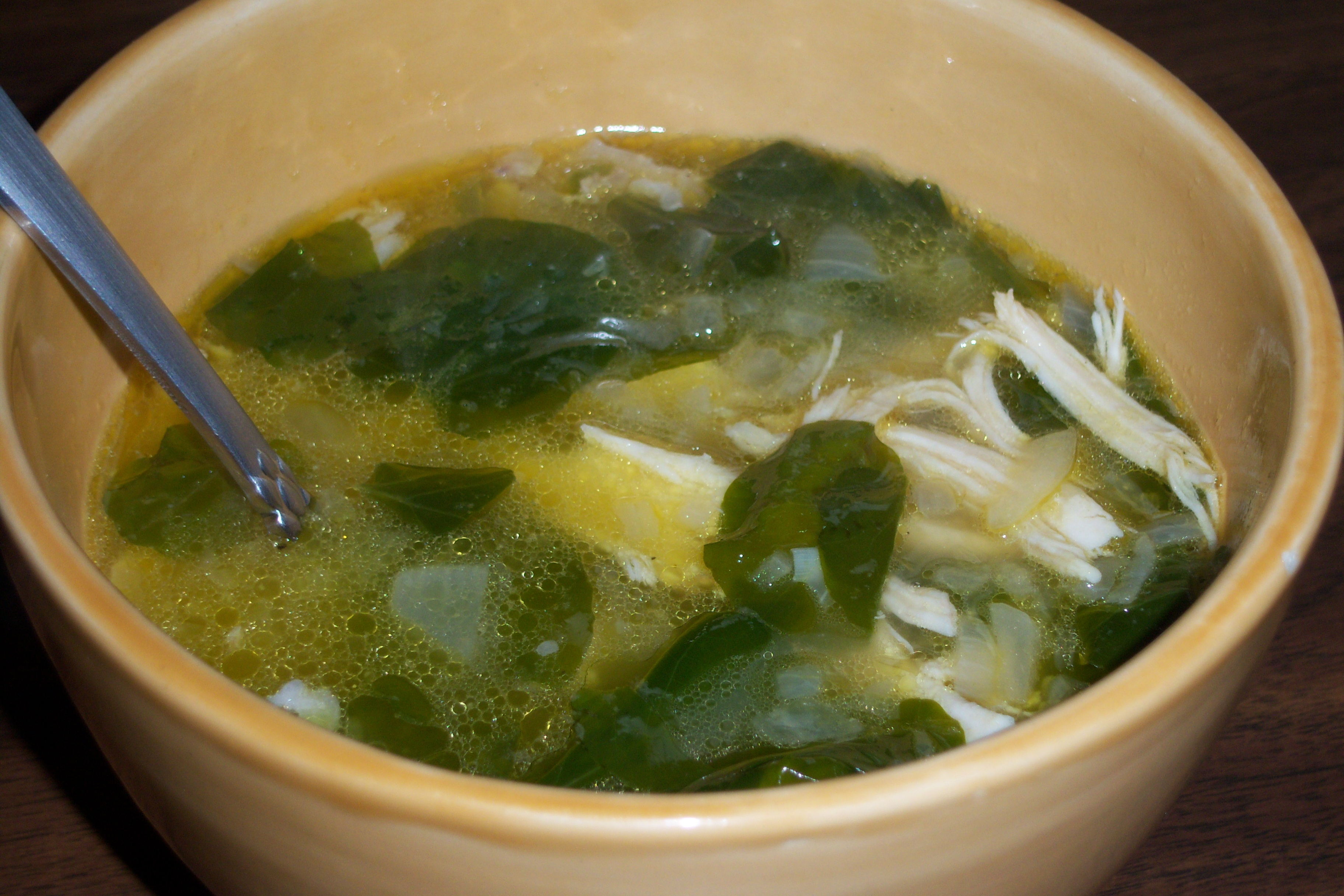 Garlic, Chicken and Watercress Soup